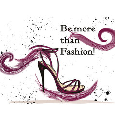 fashion with elegant female shoe with bow vector image