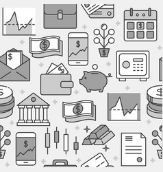 finance and money seamless pattern in line style vector image