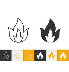 fire simple flame bonfire black line icon vector image