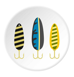 Fishing lure icon circle vector
