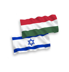 Flags israel and hungary on a white background vector