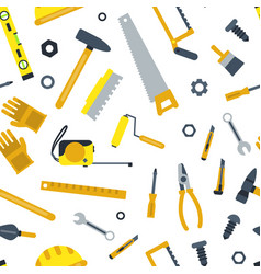 flat construction tools pattern vector image
