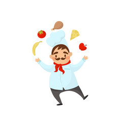 funny chef with mustache juggles with food man in vector image