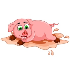 funny pig cartoon playing in mud puddle vector image