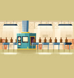 Glass bottles on conveyor belt cartoon vector