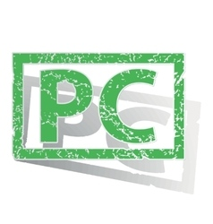 Green outlined PC stamp vector image