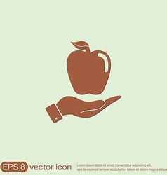 Hand holding apple vector image