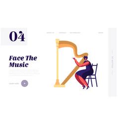 harpist musician woman playing on harp website vector image
