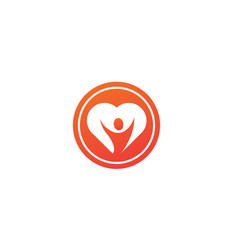 healthy person open hands inside a heart logo vector image