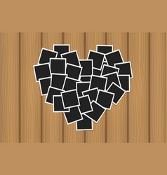 Heart concept made with photo frames on brown vector