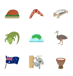 Holiday in Australia icons set cartoon style vector image
