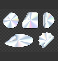 holographic stickers silver labels with curl edges vector image