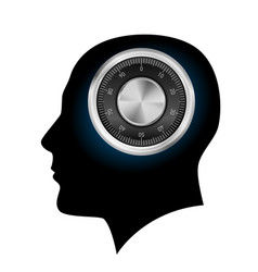 Human head with a combination lock on white vector