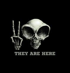 Humanoid alien skull on black vector