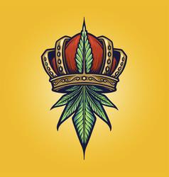 King cannabis logo weed vector