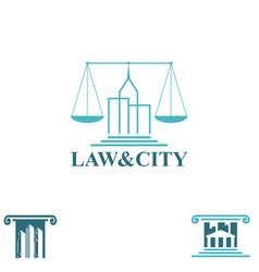 law and city symbols set vector image