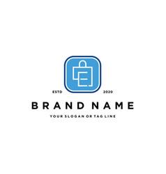 Letter e shopping bag logo design vector