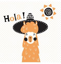 Llama in hat vector
