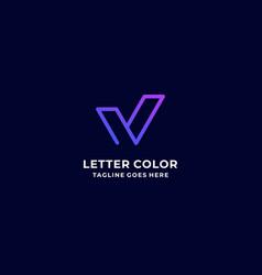 Logo letter v gradient colorful style vector