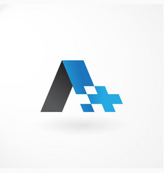 logo symbol with letter a and plus customized vector image