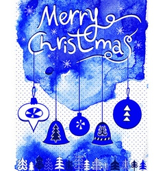 merry christmas card christmas bubbles trees vector image