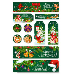 merry christmas greeting card tag banner vector image