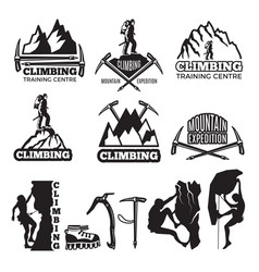 mountain climbing and different equipment vector image