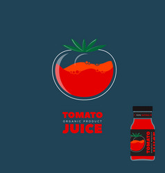 natural tomato juice logo and label vector image