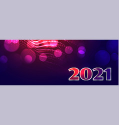 new year 2021 on blue bokeh glowing light effect vector image