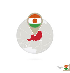 Niger map and flag in circle map niger niger vector