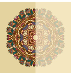Ornate card with circle ornamental floral pattern vector