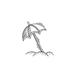 parasol on beach in sand sketch drawing vector image