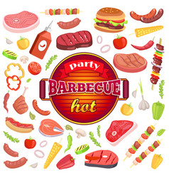 Party barbecue hot icons set vector