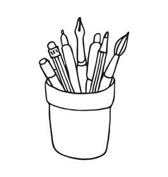 Pencil cup icon vector