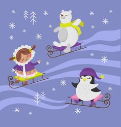Penguin sled flat design winter holiday vector