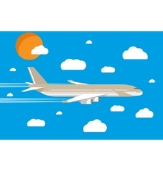 picture of a civilian plane with clouds and sun vector image