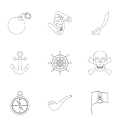 Pirates set icons in outline style Big collection vector image