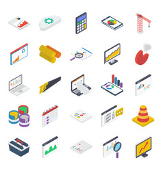 Report analysis isometric icons pack vector