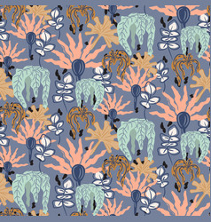 retro garden flowers seamless pattern vector image