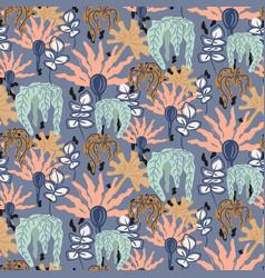 retro garden flowers seamless pattern vector image