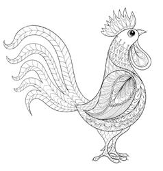 rooster zentangle domestic farmer bird vector image