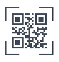 scanning black qarcode on phone screen icon vector image