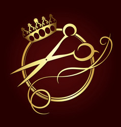Scissors and a crown of gold color symbol vector