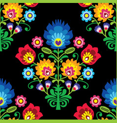 seamless folk art pattern - polish design vector image