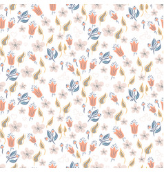 Seamless pattern with garden florals and plant vector