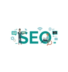 SEO Technology Concept in Flat Style Design vector
