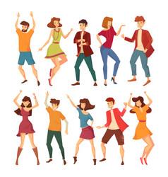set isolated dancing men and women vector image