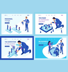 Set isometric big boss chooses small people vector