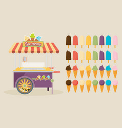 set of ice-cream icons and ice-cream shopping vector image