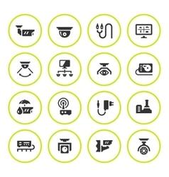 set round icons video surveillance vector image